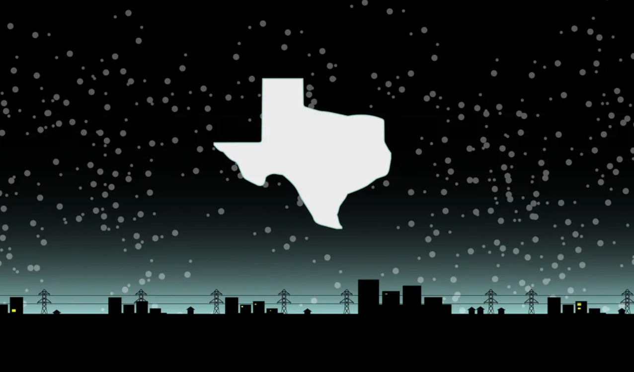 Image of Texas in a dark sky over a city